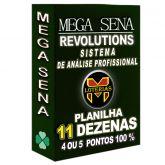 Planilha MEGA-SENA com 11 dezenas em 15 apostas 4, 5 ou 6 pontos 100%
