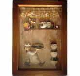 Porta Chaves Quadro de Madeira Decorativo 24,50 cm