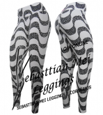 Calça Legging Branca-Preta Fitness MV06 -Tam. GG - Veste 46