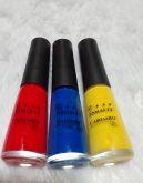Esmalte Amarelo, vermelho e azul pra Carimbo LM 9 Ml