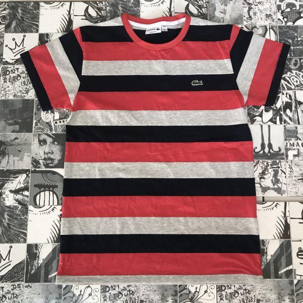 3a9c508362d37 Camiseta Lisa Lacoste Listra Preta - Outlet Ser Chic
