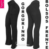 Calça preta bolsos na frente (P-M-G), modelo flare ou reta, em gorgurinho,gramatura média