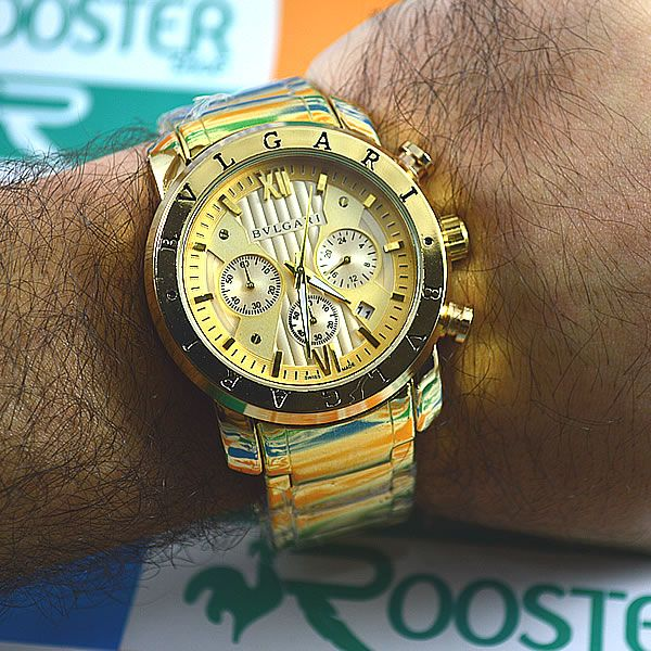 cf47f68d738 Relógio Bvlgari Homem de Ferro Funcional Dourado Pulseira Aço Dourado  Masculino à prova D´água