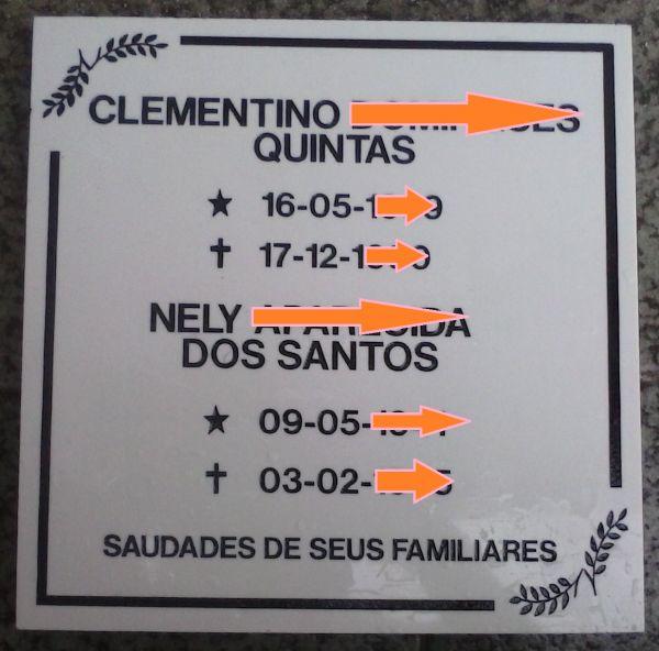 Placa em Granito com 2 nomes e datas.