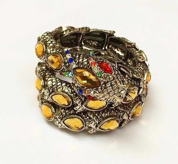 Bracelete Serpente Dourado com Brilhantes Turmalina