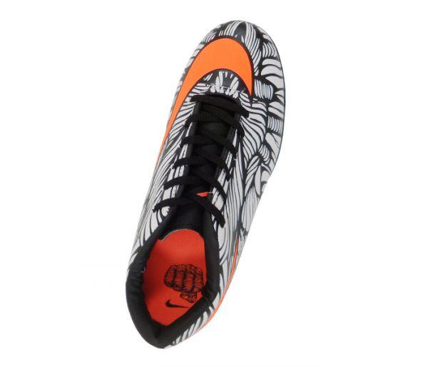 Chuteira Futsal Nike Hypervenom Phelon 2 Neymar Jr Branco e Laranja ... f16ca7e4ee6ce