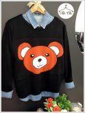 Tricot Urso [ Rosto ] Preto