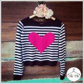 Tricot  Listras Coração Pink