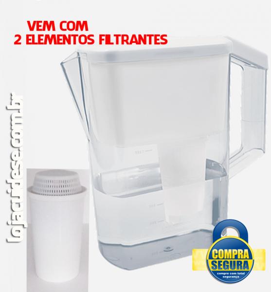 JARRA PORTÁTIL (Filtra, retira o cloro, magnetiza e alcaliniza) vem com 2 elementos filtrantes