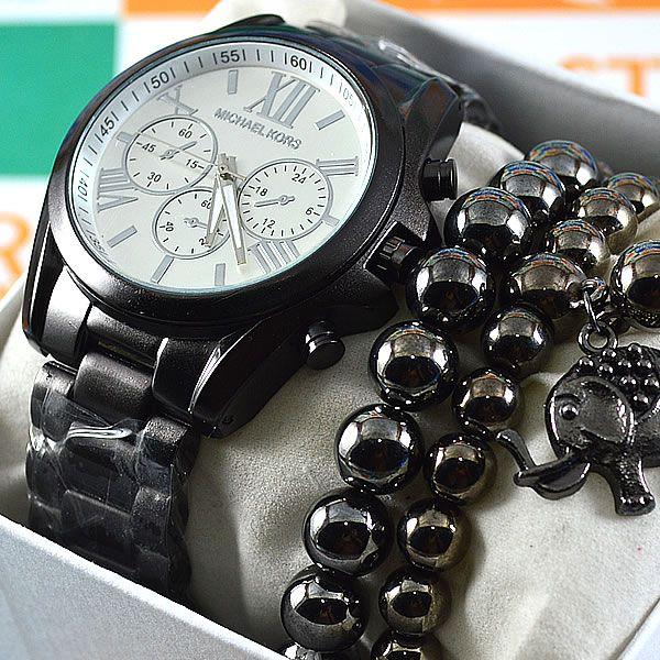 Relógio Michael Kors Preto fundo Prateado Pulseira Aço Feminino + PULSEIRA  + BRINCOS da1fa2b8c2