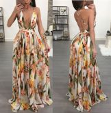 Vestido Longo Floral Decotado (PRONTA ENTREGA)