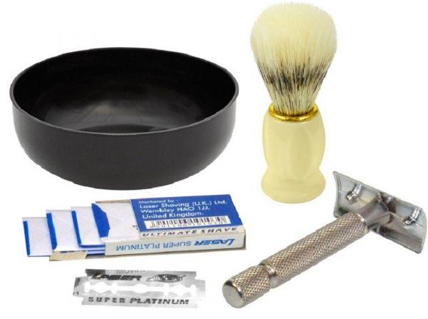 Kit Para Fazer Barba - Pincel De Barba + Tigela + Barbeador