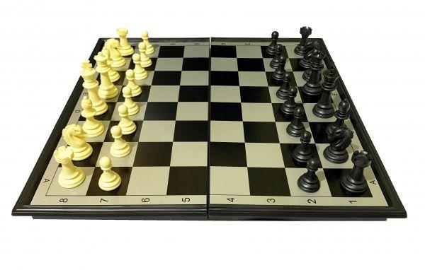 Xadrez Grande Jogo Imantado + Damas + Gamão - Peças Magnéticas - 35cm