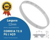 Correia  T2.5 182.5 12mm -  Poliuretano Pu Aço Sincronizadora (182.5  T2.5)