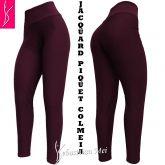 Calça legging(48/50) plus size marsala em tecido jacquard piquet