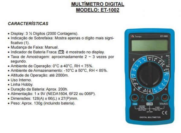 COD 1511 - Multímetro Digital Minipa ET-1002
