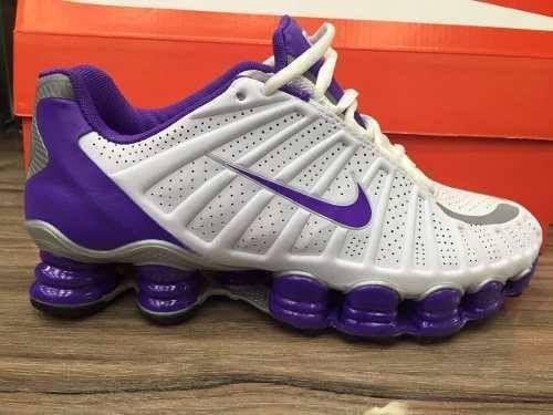 quality design 785a1 f8381 Nike Shox Tlx 12 Molas Branco e Roxo Feminino (ORIGINAL ...