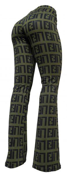Calça feminina flare verde militar (*44) estampada, tecido suplex gramatura 360
