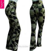 calça flare ou reta(36/8),cintura alta, estampa verde,preto,bege,suplex 320 média elasticidade