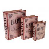 Caixa Livro Decorativo Happy Together - 3 Peças Mdf