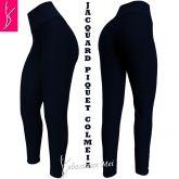 legging azul plus(56/58-60/62),cintura alta, tecido jacquard piquet colmeia