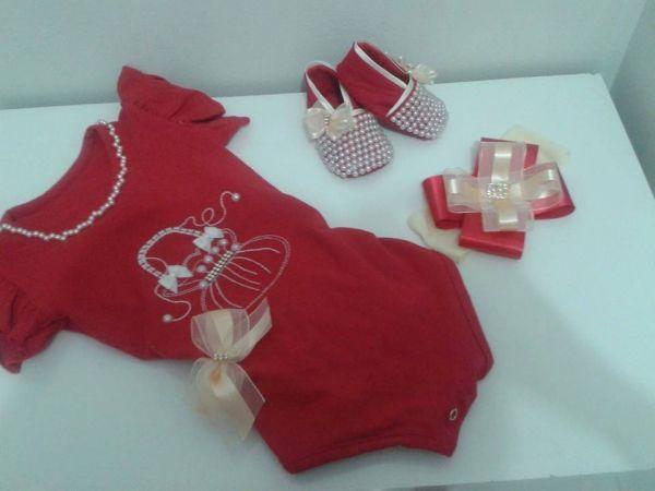 Bolsa De Perola Infantil : Conjunto de body sapato e tiara infantil vermelho perola