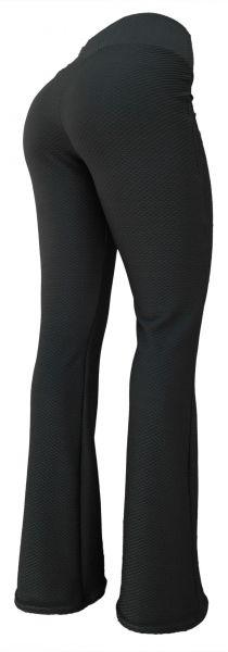 Calça feminina cinza escuro GG(46)flare ou reta em jacquard piquet colmeia