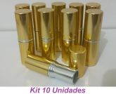 Kit 10 Embalagem Vazia Batom Bala Dourado Prata Redondo
