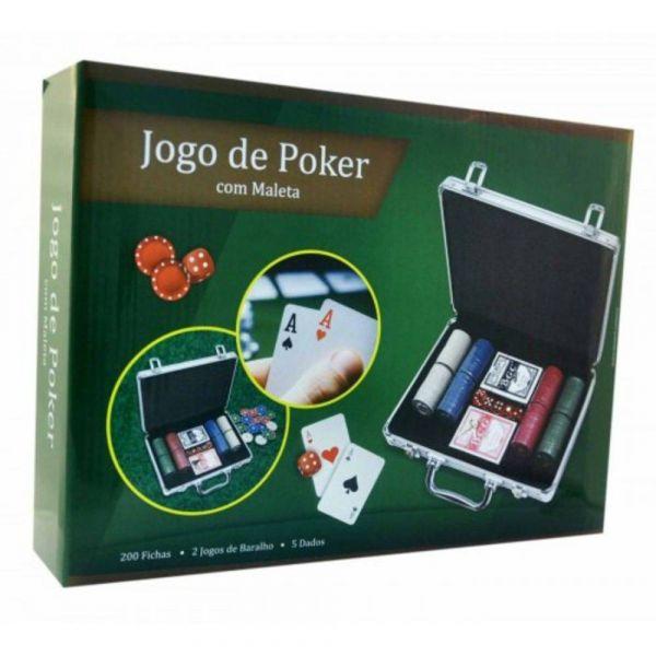 Maleta Jogo de Poker, 200 Fichas, 2 Jogos de Baralho e 5 Dados