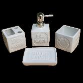 Conjunto Jogo Para Banheiro Em Cerâmica 4 Peças Pur Savon Exotic