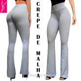calça feminina branca (P-M-G), modelos flare ou reto, crepe de malha, alta elasticidade
