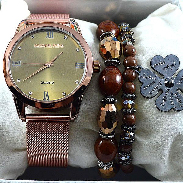 562d4ccb0fc18 Relógio Michael Kors Cobre Fundo Dourado Pulseira Aço Modelo Esteira  Feminino + PULSEIRA + BRINCOS