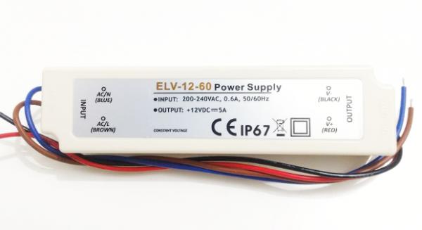 ELV-12-60 Driver p/ LED 12V / 60W IP67 Eccel - 5 pçs
