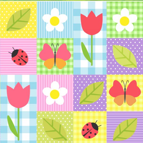 Papel de parede infantil jardim colorido papel 003 for Papel para pared infantil