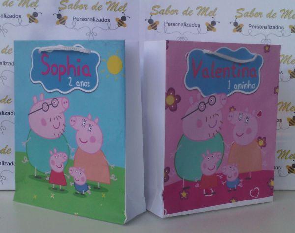 5835f4cb9 Sacola Peppa Pig Menino/Menina 16x13 - Sabor de Mel Personalizados