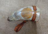 Drinking Horn Em Chifre Bovino Tratado Com Suporte De Couro!