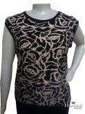 Blusa sem manga plus size 48/50, malha com elasticidade, estampa frente lisa atrás
