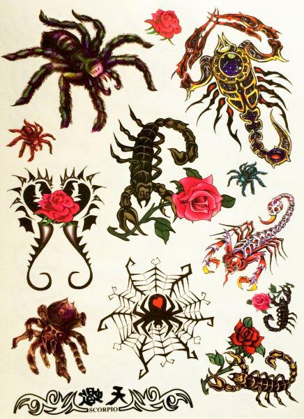 Kit 60 Tatuagens Escorpiões e Aranhas