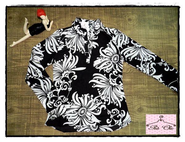 Camisa Estampada Floral Preto & Branco