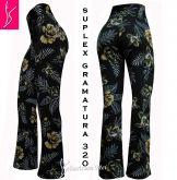 calça flare ou reta (GG-46) estampa floral, cintura alta, suplex 320