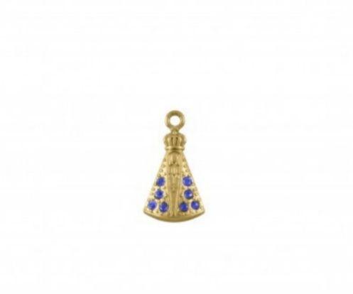 Pingente Dourado pedra Azul Nossa Sra Aparecida  (Unidade)