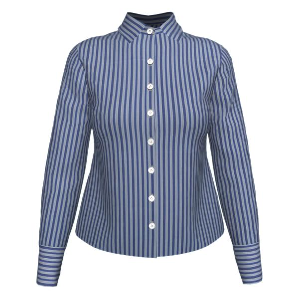 Camisa Manga Longa Listra Dupla Azul