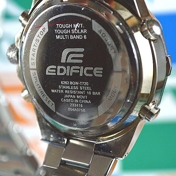 3322f09896c Relógio Casio Edifice Prata Fundo Preto Pulseira Aço Masculino à prova  D´água