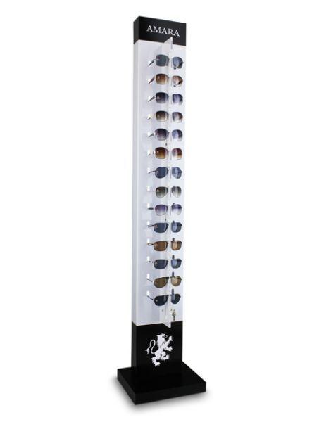 Expositor de chão com chave para 14 óculos