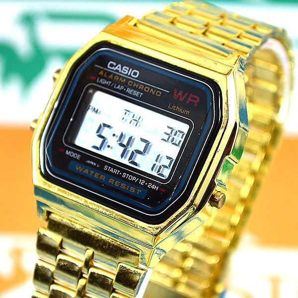 254020f7856 Relógio Casio Vintage Retro Dourado Visor Preto Pulseira Aço Unissex ...