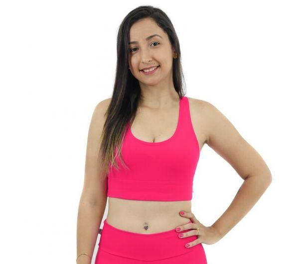 Top Nadador de Compressão Liso Rosa - Emana