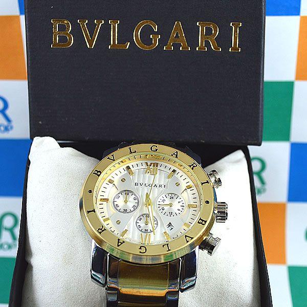 645430db320 Relógio Bvlgari Homem de Ferro Funcional Dourado Fundo branco Pulseira Aço  Masculino à prova D´