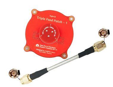 ANTENA HYBRID TRIPLE FEED PATCH 5.8GHZ 9dBi RHCP & LHCP SMA (VERMELHO)