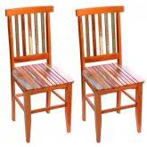 Conjunto 2 Cadeiras Mineira Madeira de Demolição com Pátina