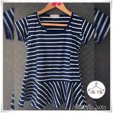 Blusa Peplum Listrada   Stripes [ Azul Marinho   Branco ]